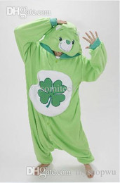 Wholesale Leaf Man Costumes - Wholesale-Green Four-leaf Clover Lucky Care Bear Cosplay Pajamas Adult Women Men Unisex Onesie One Piece Hooded Romper Party Costumes
