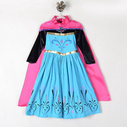 Wholesale Baby Winter Cape - New Frozen Elsa Anna dress kids elsa costume baby girls costumes for kids fantasia clothes Elsa coronation dress with cape