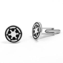 Wholesale Gemelli dell Impero galattico per gioielli moda uomo modello rotondo gemelli in argento colore nero regalo di Natale caldo