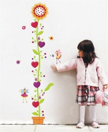 Wholesale Sunflower Stickers Free Shipping - Free shipping New Eco-friendly Wall Stickers Sunflower Height Child Room PVC Wallpaper Mural Decals Removable for kids rooms