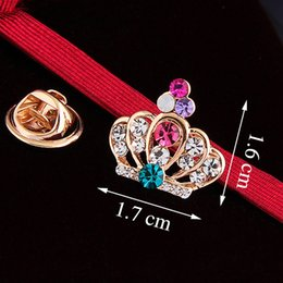 Wholesale Steel Female Locked Collar - 2016 new upscale small crown Korean small collar shirt collar pin female collar clip brooch crystal brooch pin scarf buckle