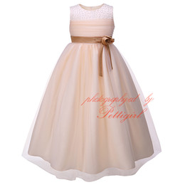Wholesale Wholesale Decorating Wedding Pearls - Pettigirl New Girls Ball Gown Dress With Flower Sash Fashion Kids Wedding Dress Decorated With Pearls Wholesale Big Girl Clothes GD81204-13