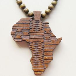Wholesale Good Wood Africa Pendant - Classic Vintage Good Wood Africa Map Big Pendant Beads Necklace For Men Women Jewelry Hip Hop Punk Rock Wholesale