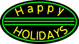 """Wholesale Real Happy - Happy Holiday Neon Sign Holiday Decoration Handcrafted Customized Real Glass Tube Display Neon Signs 17""""X14"""""""