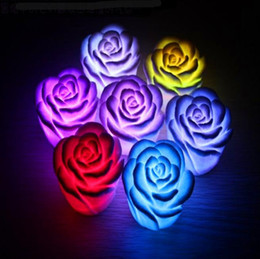 purple flameless candles Promo Codes - New Romantic Changing LED Floating Rose Flower Candle Night Light Wedding Decoration 600PCS LOT