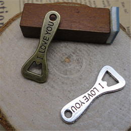 Wholesale Sliding Opener - Vintage I Love You Stamped Alloy Bottle Opener Charms 100pcs lot AAC568