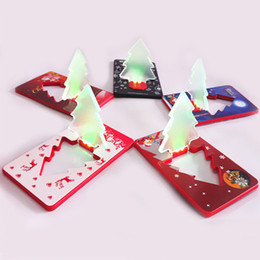 wholesale decorative indoor trees Promo Codes - LED Card Light Creative Flashing Ultrathin Christmas Tree Cards Lamp Transparent PVC Decorative Supplies Factory Direct Sale 2jt B