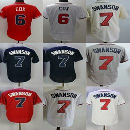 Wholesale Cheap Grey Suits - Factory Outlet Mens Womens Kids Toddlers Atlanta 6 Bobby Cox 7 Dansby Swanson Red White Beige Blue Grey Cheap Baseball Jerseys suit XS-6XL