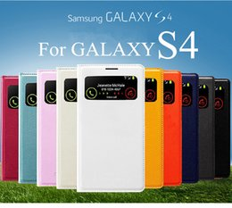 Wholesale S4 Flip Case Battery Cover - For Samsung Galaxy S4 S 4 NO IC Flip Chip Smart Leather Case Open Window Battery Door Back Cover Cases I9500 I9502 I9508 I959 With Package