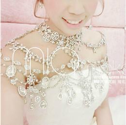 Wholesale Shoulder Epaulets Bridal - Gorgeous Fashion Simple Style Epaulet Silver Crystal Rhinestone Shining Shoulder Necklace Epaulet Jacket Wedding Bridal Dresses Jewelry