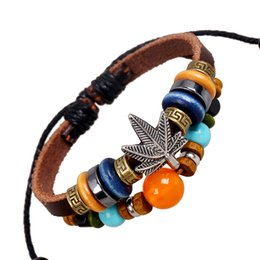 Wholesale Maple Leaf Charms Wholesale - Retro Maple Leaf beaded leather bracelets for women and men multilayer Charm bracelets Beaded Jewelry wholesale