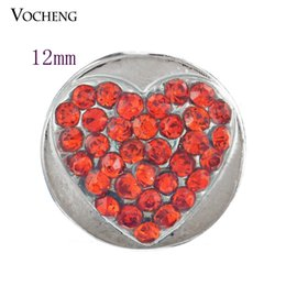 Wholesale 12mm Buttons Red - Petite Ginger snap jewelry Heart Inlay Red Crystal 12mm Small Snap Chunk Button Jewelry DIY Nosa Jewelry Accessory (Vn-253)