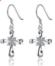Wholesale Dangle Diamond Cross Earrings - Women Silver Crystal Cross Earrings Diamond Cross Stud Earrings for Party Fashion Jewelry Christmas Earrings Gift