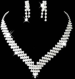 Wholesale Cheap Christmas Plates - Cheap Wedding Bridal Jewelry Sets Girls Earrings Necklace Crystals Formal Christmas Party Rhinestones Accessories 2016 Top Selling