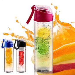 Wholesale Water Bottle Holder Plastic - E Juice Bottles Flip Lid Fruit Lemon Juice Cup Infusing Infuser Water Health Portable Bottle Sport Health Lemon Cup Juice Holder Bottles