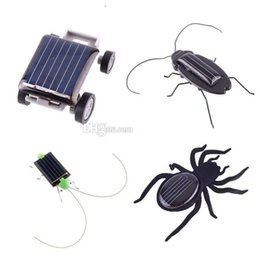 Wholesale Solar Energy Birthday Gifts - Robot Christmas Birthday gift Solar Spider Car Grasshopper Cockroach Education toys for children Energy Powered kids T100 H1759 H1758 H1394
