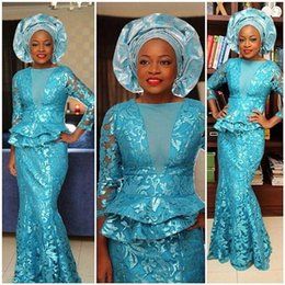 Wholesale Turquoise Blue Dress Red Carpet - Turquoise Blue 2015 Customized African Evening Dresses Bateau Neck 3 4 Long Sleeves Sheath Floor-length Party Gowns with Tiered Peplum New