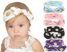 Wholesale Bunny Ornaments - Baby Girl Hair ornaments Glitter Polka Dot Bunny Ears Headbands Girl Fashion Headwear Baby Accessories 1107