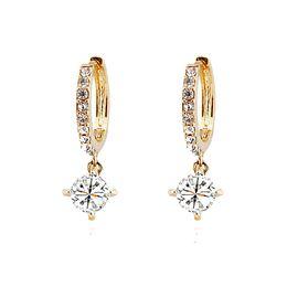 Wholesale Wholesale Silver Jewelry Korea - South Korea Classical Zircon Earrings Fashion Alloy Material Females Charm Earrings For Wedding Jewelry Earrings 1018