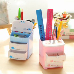 Wholesale Office Supplies Desk Accessories - Wholesale- Two-layer Drawer Pencil Holder Plastic Pen Holders Desk Organizer Storage Stationery Office Accessories Students School Supplies