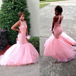 Wholesale Sexy Gril - Sexy Open Back 2018 Prom Dresses Graduation Long Puffy Mermaid Sheer Neck Heavy Beading Crystal Pink Tulle Black Gril Evening Gowns