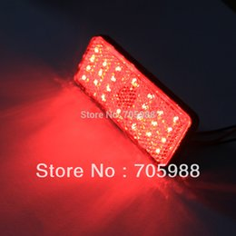 Wholesale Led Stop Lights - 1 piece * Red Rectangle red len LED Reflectors Brake Light Universal Motorcycle brake light car brake lights moto stop light