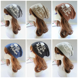 Wholesale Skull Dust Caps - Fashion Cotton Hedging Cap Skull Head English Letter Pattern Turban Hat Thickening Dust Proof Adults Beanie For Men And Women 6jb B