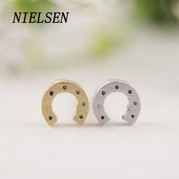 Wholesale Joyas Jade - NIELSEN Fashion Stud Earrings Horseshoe Hollow South Korea Ear Cuff Fresh Joyas Women'S Jewelry Oorbellen Accessories Hoops
