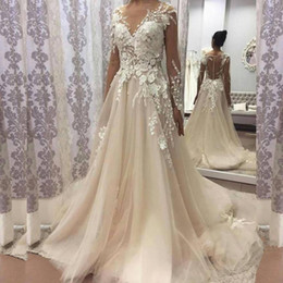 Wholesale Boat Chart - 2018 Vintage Wedding Dress Boat Neck Long Sleeve Button Back 3D Floral Apliques Custom Made Bridal Gowns