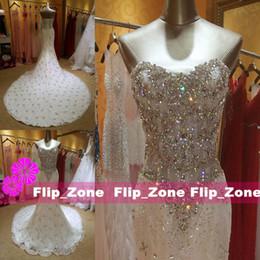 Wholesale Diamond Mermaid Dresses - Luxurious Crystal Diamond Beaded Mermaid Wedding Dresses 2015 Sweetheart Sequins Lace Up Corset Court Train Bridal Gowns Custom Made 2016