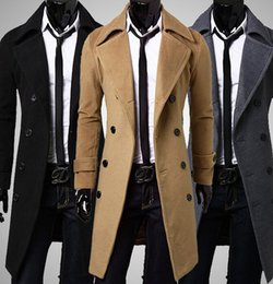 Wholesale Black Trench Coat Double Breasted - Newest Slim Double Breasted Trench Coat Solid Color Lapel Collar Long Sleeve European Style 3 Colors Men's Leisure Trench Coats P65