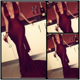 Wholesale Glamour Red - 2016 Glamour Burgundy Prom Dresses Sexy Deep V Neck Satin Backless Mermaid Prom Evening Gowns For Women Dresses