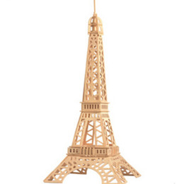 Wholesale Eiffel Tower 3d Puzzle Wood - 2015 New Design Eiffel Tower Model Wood Toys for Children, Creative DIY 3D Wooden Puzzle Educational Baby Toy Free Shipping