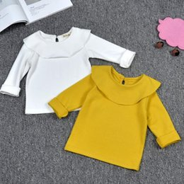 Wholesale Child Wear White Short Sleeve - Gilr Boutipue Clothing Girls Long sleeve T shirt kids Cotton Clothing Tops Tees baby tees children under wear CQZ140