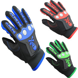 Wholesale Wholesale Bike Gloves - Skeleton motorcycle gloves sport gloves Racing climbing Gloves bicycle gloves Riding Cycling Bike full Finger Gloves Christmas Gift A426X