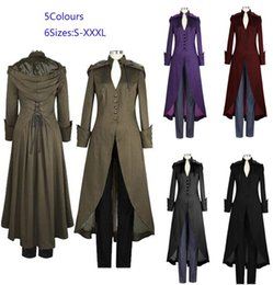 Wholesale Trench Double Coat Red - Women's Victorian Double Cape Coat Gothic Black Steampunk Victorian Trench Coat with Hood Plus Sizes S-XXXL