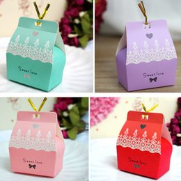 Wholesale Paper Gift Bags Cheap - Colourful Favor Holders Cheap Sweetheart Bridal Accessory Beautiful In Stock Gift Bags Elegant Wedding Sugar Box Discount Case Ready To Ship
