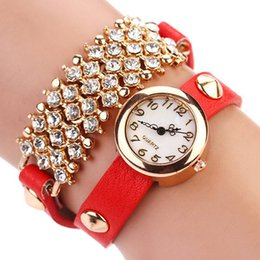 Wholesale Leather Strap Bling Watches - New Arrive Fashion Casual Leather Strap Bracelet Wristwatch bling rhinestone Women Dress Watches Gift Crystal Relogio Watch XR120