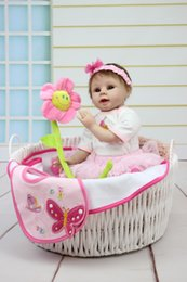 Discount cute baby girl dolls - Wholesale- Reborn Baby Doll Soft Silicone 22inch 55cm Magnetic Lovely Lifelike Pink Dress Girl Toy Cute Toy For Christmas Gift