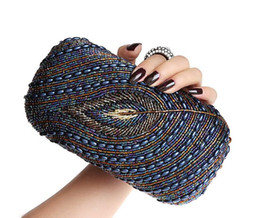 Wholesale Multicolor Evening Bags - Wholesale-New Women's Evening Bag, Beaded Clutch,Diamond Ring Package.Peacock Pattern Hand Bag,Messenger Bag. Multicolor Selection