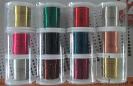 Wholesale Round Wire Beads - 28gauge 0.3mm 9FT roll 12roll lot colorful plated round copper wire artistic wire DIY bead jewelry wire buy the dozen