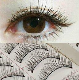 Wholesale Eyelash Wigs - Wholesale-10 pairs lot plastic cotton stalk natural eyelashes false lashes 100% pure hand made eyebrow wigs makeup accessories
