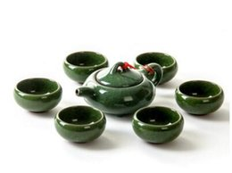 Wholesale Ceramic Clay Pots - hot sale green color six cups and one pot Kung Fu tea set promotion ice crack glaze tea tools T148