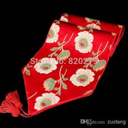 Wholesale Long Silk Table Runners - Luxury Silk brocade printed Christmas Dining Table Runner Long Coffee Table cloths Fashion Bed Runners size L200 x W35cm 1pcs Fr