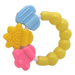 Wholesale Funny Necklaces - Wholesale- Baby toddler Ball Circle FUNNY Toy Rattles Teether Necklace Teeth teething Biting Bed Bell Durable Silicone Handbell Jingle