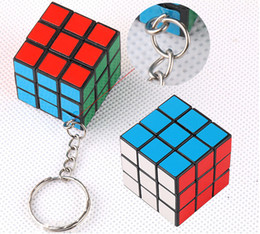 Wholesale Puzzle Sales - Factory directly sales Keychain Rubik cube 3x3x3cm Puzzle Magic Game Toy Key Keychain hot Stock Free Shipping