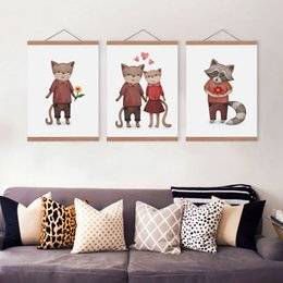 Wholesale Framed Valentine - Watercolor Kawaii Valentine Animals Panda Cat Dog Wooden Framed Canvas Painting Home Decor Wall Art Print Pictures Poster Hanger