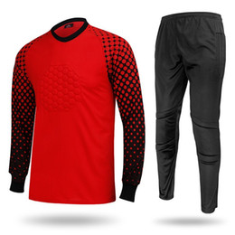 Wholesale Polka Dot Jersey - Hottest Sale Football Goalkeeper Long Sleeve Shirt Long Pant Athletic Adult Soccer Jersey Shirts Men's Sweater Jerseys
