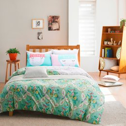 Wholesale Queen Size Comforters Sets - Wholesale-Factory Direct Duvet Cover Plain Printed Teal Floral Home Comforter Bedding Set Twin Queen Size Sheets