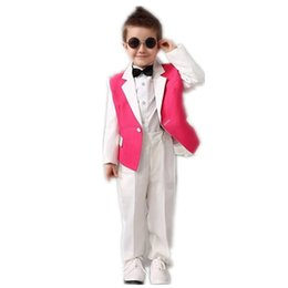 Wholesale Custom Boys Dress Coat - White Pink Boys Tuxedos Wedding Attire Baby Boy Dress Clothes Wedding Party Dress Boys Suits Blazers (Coat+Pants+Tie)
